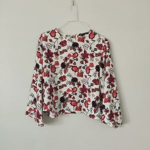 3/$20 - MNG by Mango Floral Art Flowy Blouse